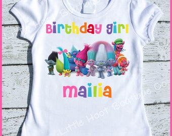 Custom Personalized Super Cute Trolls Birthday Girl tee shirt