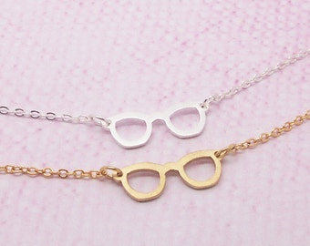 Dainty Glasses Necklace in Gold/Silver NB545
