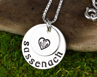 Sassenach Necklace in Sterling Silver // Handstamped Scottish Jewelry