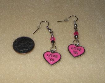 Valentine Heart Charm earrings with Hot Pink enameling,saying Love ya,Valentine pierced earrings/pink valentine earrings/womens valentine ea