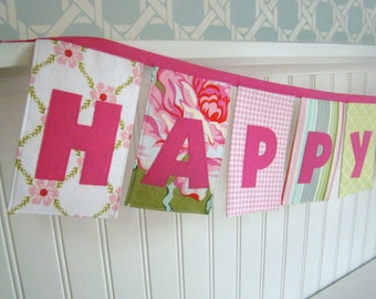 Happy Birthday Banner Pink and Green fabric banner party decoration  Spring Fever