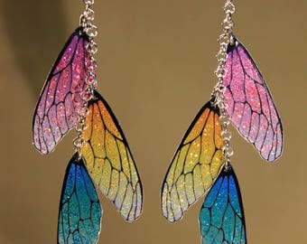 "Earrings ""colored fairy wings"" fantasy, Faerie, fantasy"