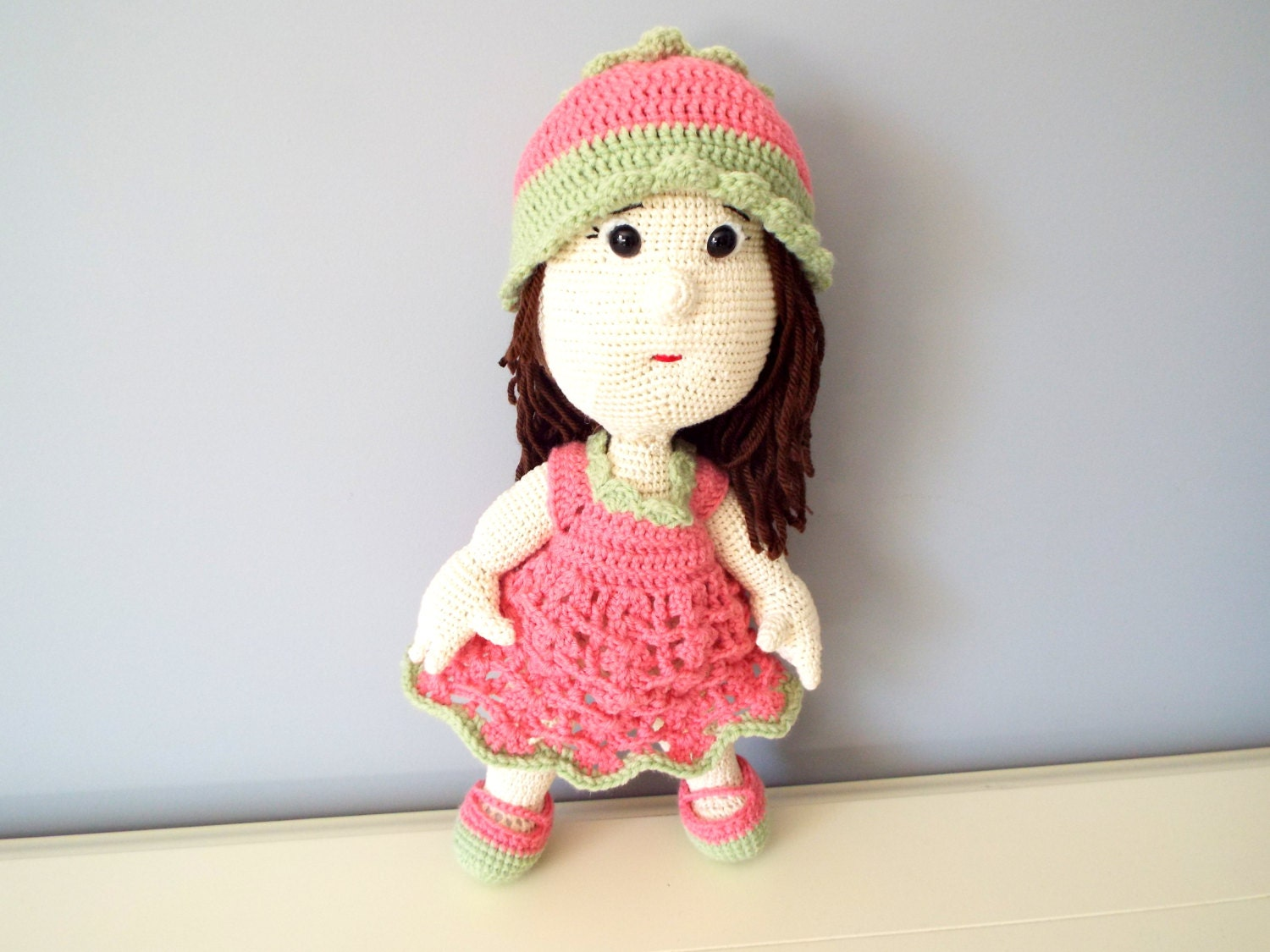 Crochet pink doll Kids Toys Baby shower Home decor Knitted doll ...