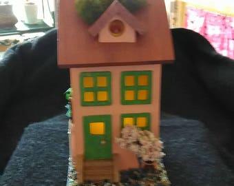 Fairy house, night light, collectable birdhouse.