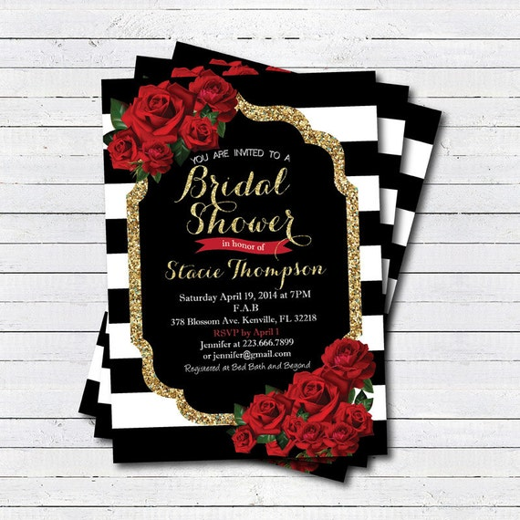 Bridal shower invitation red rose black white stripe gold for Rose gold winter wedding invitations