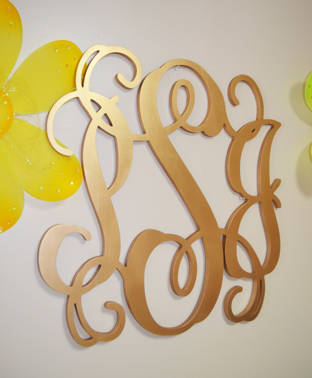 Gold Hanging Letters Gold Wooden Monogram Wall Hanging Letters Monogram Door