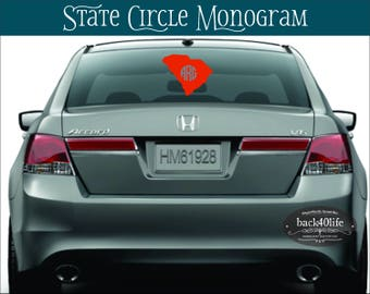 State Circle Monogram Vinyl Decal (M-018)