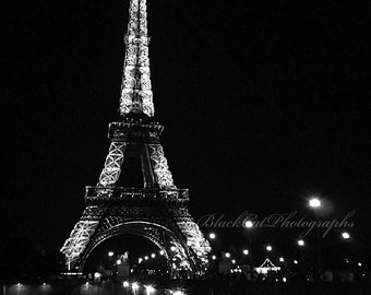 Paris Picture, Paris Eiffel tower photo, black and white, romantic night photography, 5x7 wall art, Eiffel tower wall decor, Paris photo