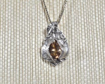 Peakaboo Leaf Pendant with Genuine Champagne Topaz Hemstone, Fine Silver PMC Necklace
