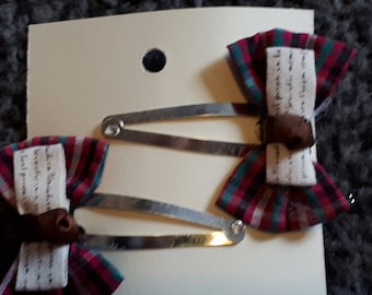 Plaid Bow Hair Clip