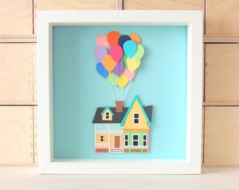 Cuadro casa UP - Cuadro disney pixar - Casa con globos up! - Cuadro con relieve hecho de cartulina - Decoración disney - Cuadro película