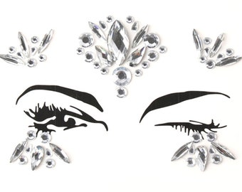 Festival face jewels, gems, all in one, body bindi stickers, stick on rhinestones, adhesive eye makeup, glitter, rave gift, sticky crystals
