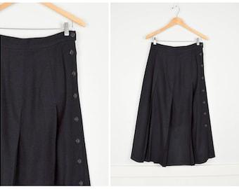 Vintage Black Wool Skirt, Vintage Clothing, Pleated Skirt, Medium Midi Skirt 28, High Waisted Skirt, Minimalist Skirt Lined Wool Skirt