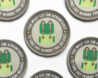 Go on Adventures inspirational Iron-on Patch - 2.5 inch woven patch - illustrated backpack by the Nemophilist