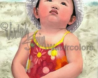 """Chinese Girl Flying Beach Kite, Red Swim Suit, Sailor Hat, Children Watercolor Painting Print, Wall Art, Home Decor, """"Look Up in the Sky!"""""""