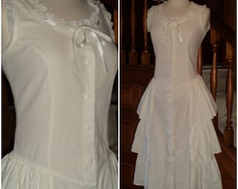 ReSeRVeD~Drop Waist Tiered Ruffled Midi Dress Dress 5 MILANZO USA All Cotton Button Front Sleeveless Eyelet Lace White XS Party