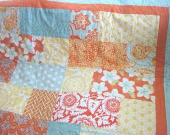 ON SALE: Twin size quilt aqua teal orange yellow blanket citrus heirloom beach colors