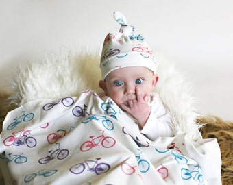 Baby Girl Blanket and Hat - Organic Baby Swaddler Blanket and Matching Hat in Cruiser Bike in Pink, Purple and Teal