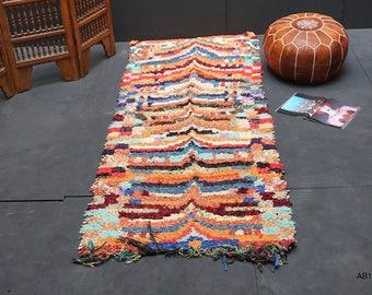Boucherouite runner rug 3x7 vintage moroccan boucherouite rug runner