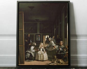 "Diego Velazquez ""Las Meninas"" Framed Reproduction Las Meninas Art Print on Canvas Painting in a Frame - Ready to Hang. (FC-DVE-01)"