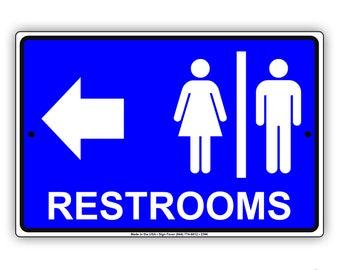 Restrooms For Women & Men Directional Left Arrow Restaurant Hotel Sign