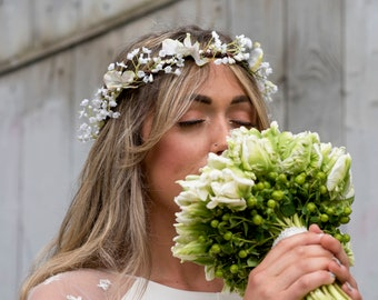 Babys breath Crown, Gypsophila Crown, Babys Breath Flower Crown, Wedding Flower Crown, Blue Hydrangea Floral Crown, Bridal Hair Accessories