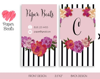 Rose Business Card, Floral Business Card, Floral Pink Strockes, Personal Card, Printable, Customizable, Monogram card, Stationery, Branding