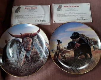 Vintage Collectible Porcelain Plates Best of the West Collection. With COA