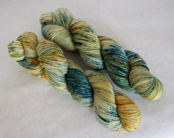 Hand Dyed Yarn/Superwash merino/nylon/Sock Yarn/Into the Woods
