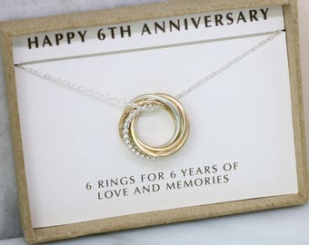 6th anniversary gift, 6 year anniversary gift for wife, 6th wedding anniversary necklace - Lilia