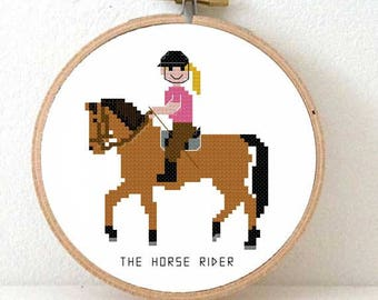 Horse Rider Cross stitch pattern. Gift for horse girl. Horse rider gifts. Gift for horse fan. Horse girl gifts.