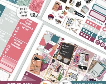 Get It Girl - KIT - PRINTABLE silhouette cut file , printable sticker planner,  printable planner stickers
