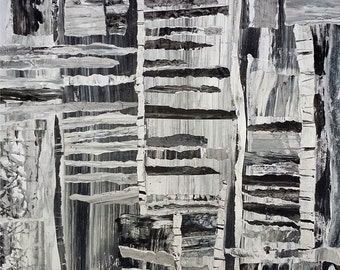 Diptych: Unfounded Thoughts and Dira Necessitas - original mixed media on paper by Robert Andler-Lipski. 2016