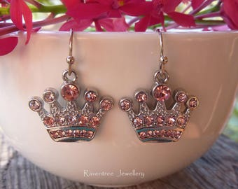 Crown Earrings. Princess Crown earrings. Queen earrings. Rhinestone earrings. Royal earrings. Silver jewelry. Gift for her.