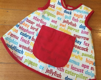 Art Smock, Apron, Animal Word,Unisex/Boys/Girls, Quality Hand Made, In 4 Sizes