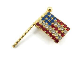 Vintage, American Flag, Brooch, Rhinestones, Gold Tone