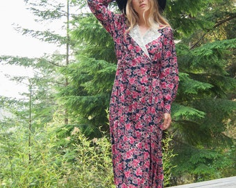 Laura Ashley Dress / 80s 90s Vintage Floral Dress / Red Pink Rayon Midi Dress / Long Sleeve Dress / Floral Maxi Dress / Teacher Dress / MED