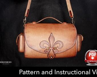 Bag Pattern - Leather DIY - Pdf Download - Leather Pattern - Fleur de lis Bag Pattern - Ladies Bag Pattern - Bag Template