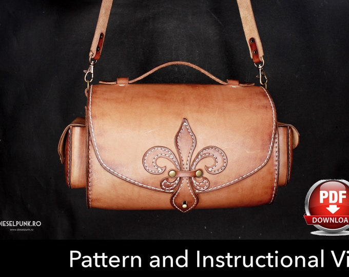Bag Pattern - Leather DIY - Pdf Download - Leather Pattern - Fleur de lis Bag Pattern - Ladies Bag Pattern - Bag Template