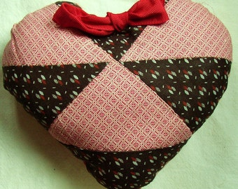 VINTAGE QUILT MINI HEART PILLOW...BROWN, RED CALICO, DAMASK...VERY CUTE