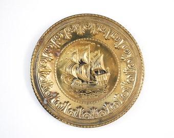 Plaque en laiton vintage • collection Pirate Ship • décoration nautique • copain homme des cavernes cadeau • martelé en Relief métallique • Marina Pub anglais
