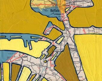 Buffalo - small print- featuring Buffalo, Lackawanna,  Cheektowaga, New York bike art, bicycle art, cycling