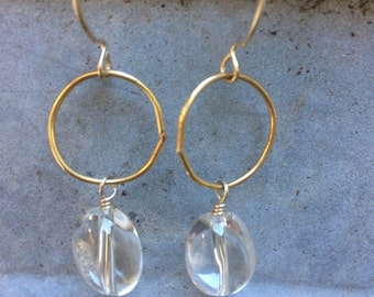 """the """"sophie"""" earrings ~ crystal quartz affixed to gold-filled link and sterling loop earwire"""