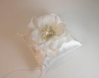 Custom Wedding off white ring bearer pillow flower with Swarovski  Pearls and  Swarovski Crystals -Custom order.