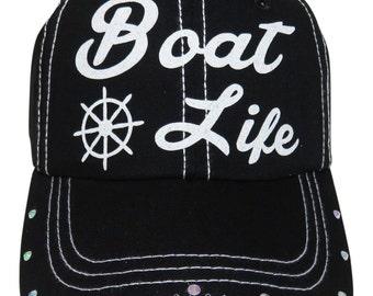 "NEW! White Glitter ""Boat Life"" Black Baseball Cap And Rhinestones on the bill"