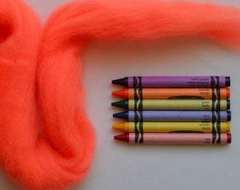CORRIEDALE WOOL ROVING / Highlighter Orange / bright orange wool for troll hair, doll hair, needle felting, wet felting, fiber art, spinning