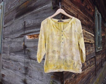 Eco printed upcycled blouse