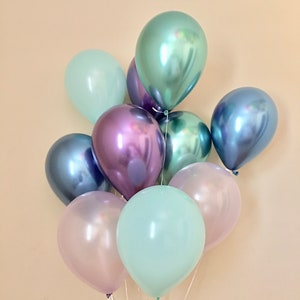 Mermaid Balloons~Under the Sea Party~Chrome Balloon~Blue Purple Mint~Mermaid Birthday~Mermaid Party Decor~Baby Shower~First Birthday~Wedding