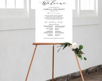 Wedding Program Sign Poster - Modern Wedding Welcome Sign - Editable PDF Template Instant Download - Lovely Calligraphy inv004_2