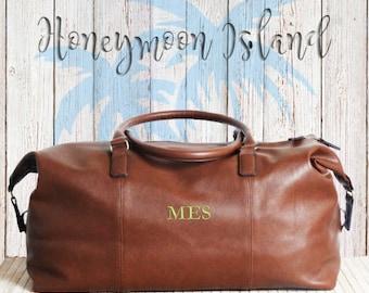 Groomsmen gifts - Men's Travel Bag - Men's Weekender Bag - Personalised Holdall - Weekender Bag - Monogram - Nuhide Leather look Duffle Bag